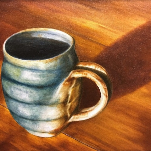 coffee cup oil painting