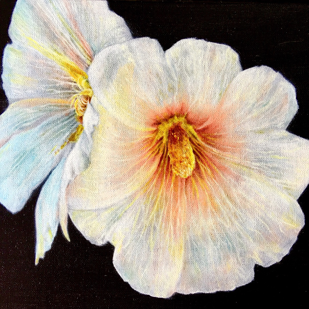 hollyhock oil painting